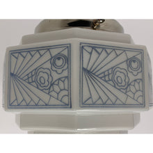 Load image into Gallery viewer, Art Deco Semi Flush Globe with Blue Stencil Pattern #2032