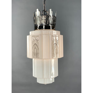 Commercial Art Deco Pendant with Skyscraper Shade, Nickel Plated #2030 - Filament Vintage Lighting
