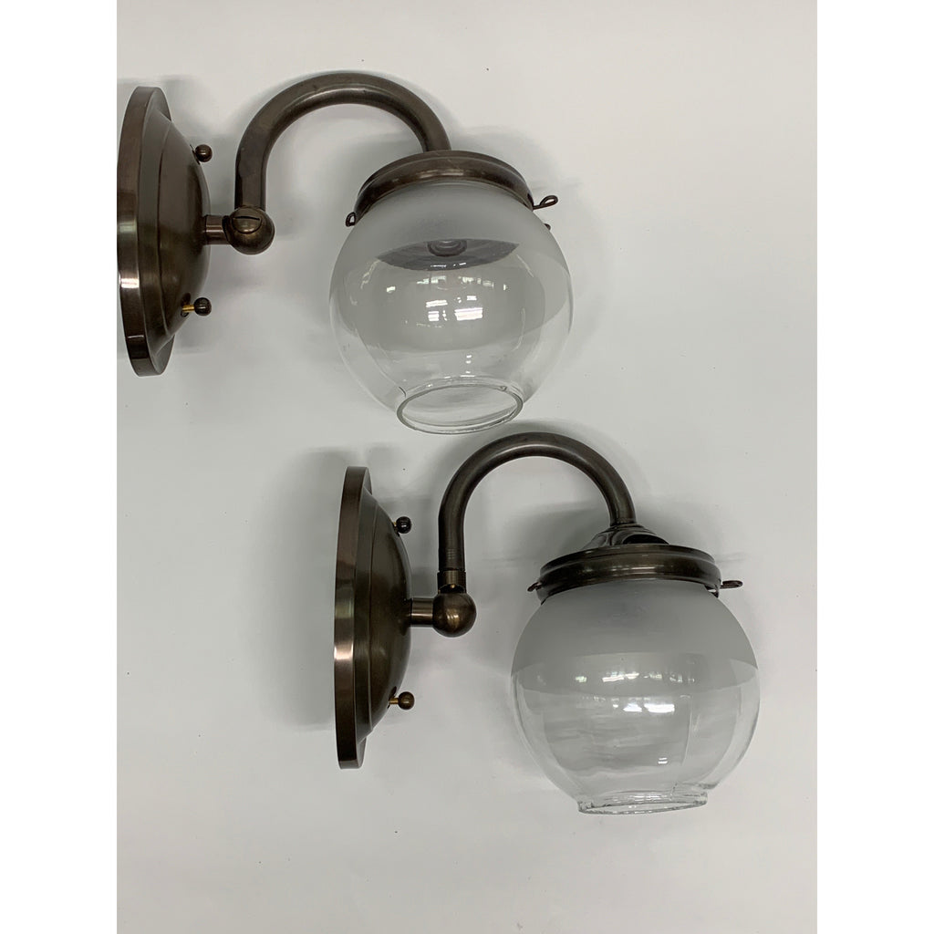 Pair Industrial Gas sconces with Globe Shades #2034 - Filament Vintage Lighting