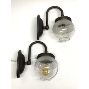 Pair Industrial Gas sconces with Globe Shades #2035 - Filament Vintage Lighting