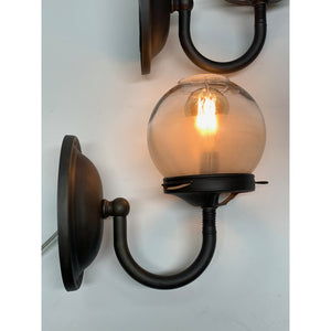 Pair Industrial Gas sconces with Globe Shades #2036 - Filament Vintage Lighting
