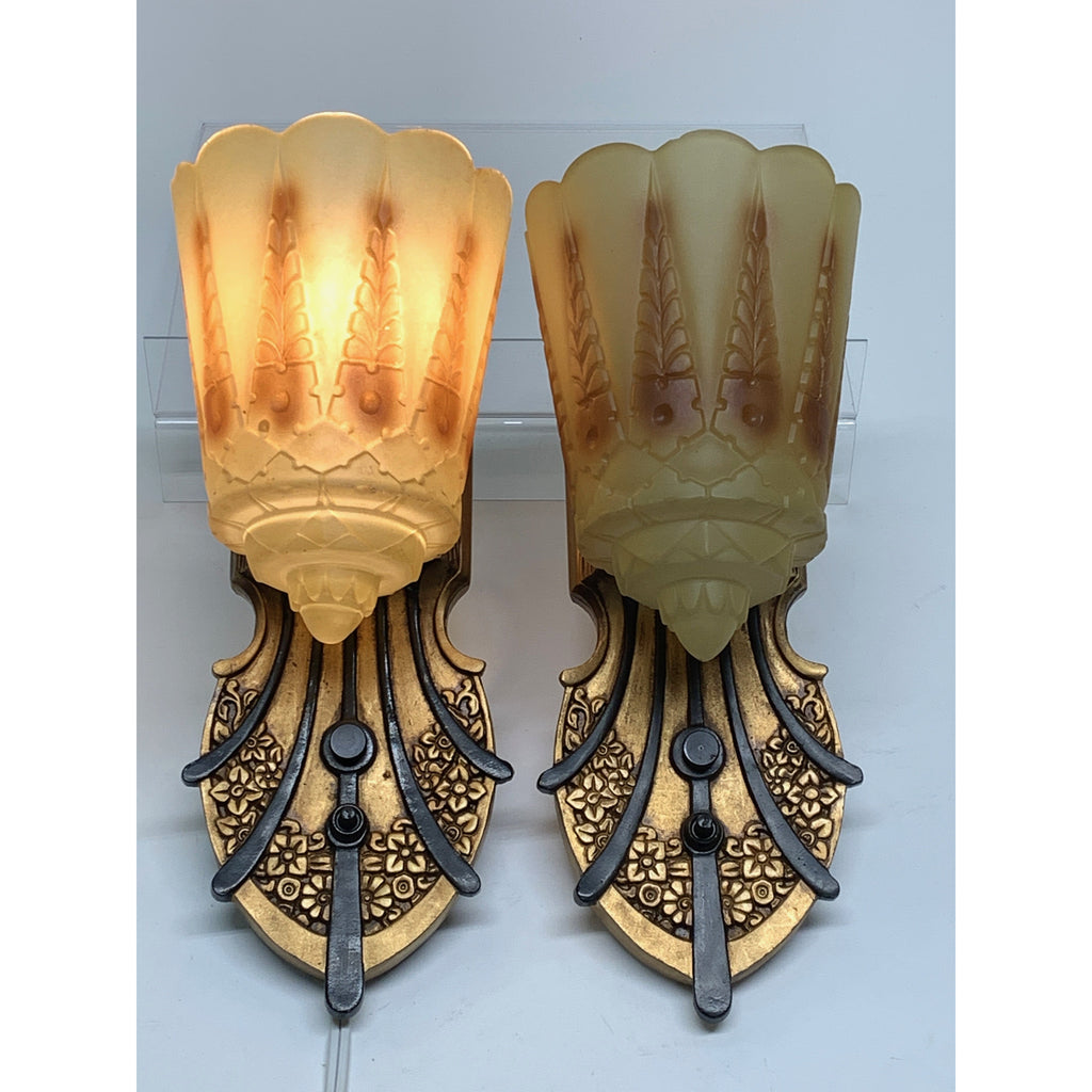 Lincoln Two-in-One Art Deco Sconces (six available) #2039 - Filament Vintage Lighting