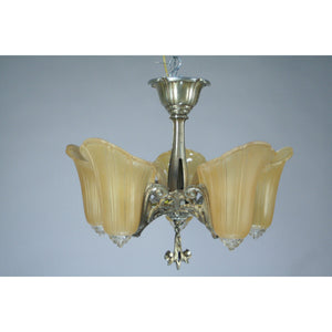 "Art Deco Semi-Flush 5 Light Chandelier, the ""Normandy"" - Filament Vintage Lighting"