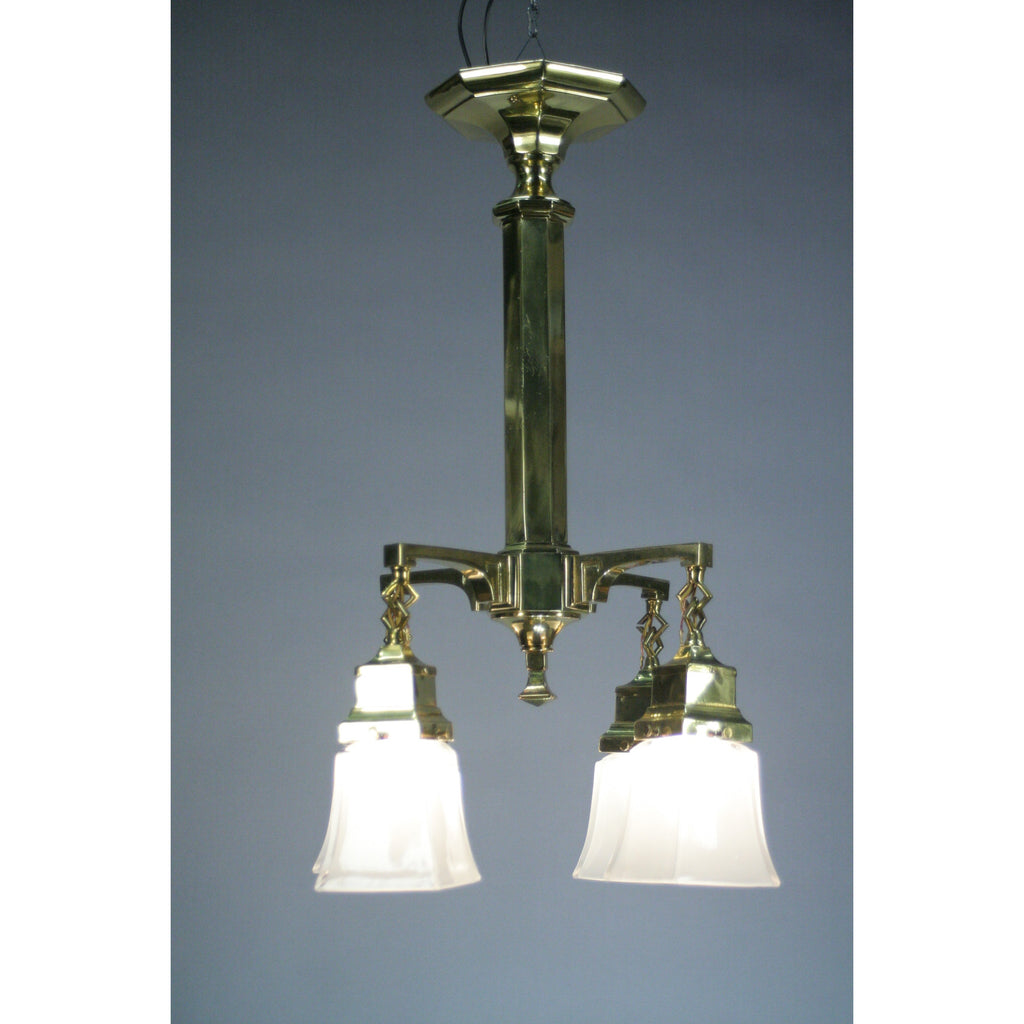 Polished ARTS AND CRAFTS light with antique shades