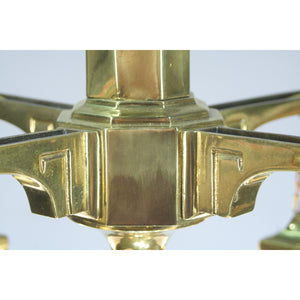 detail of cast brass mission chandelier