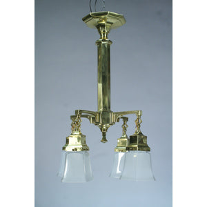restored cast brass arts and crafts chandelier