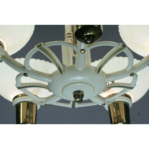 1940s 5 Light with Silver Oxide Bowl Shades #2055