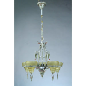 Gill Glass slip shade Modernique art deco chandelier