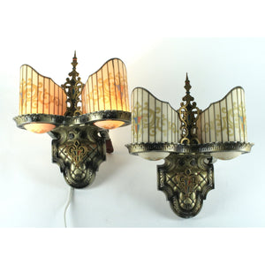 Pair williamson slip shade art deco sconces