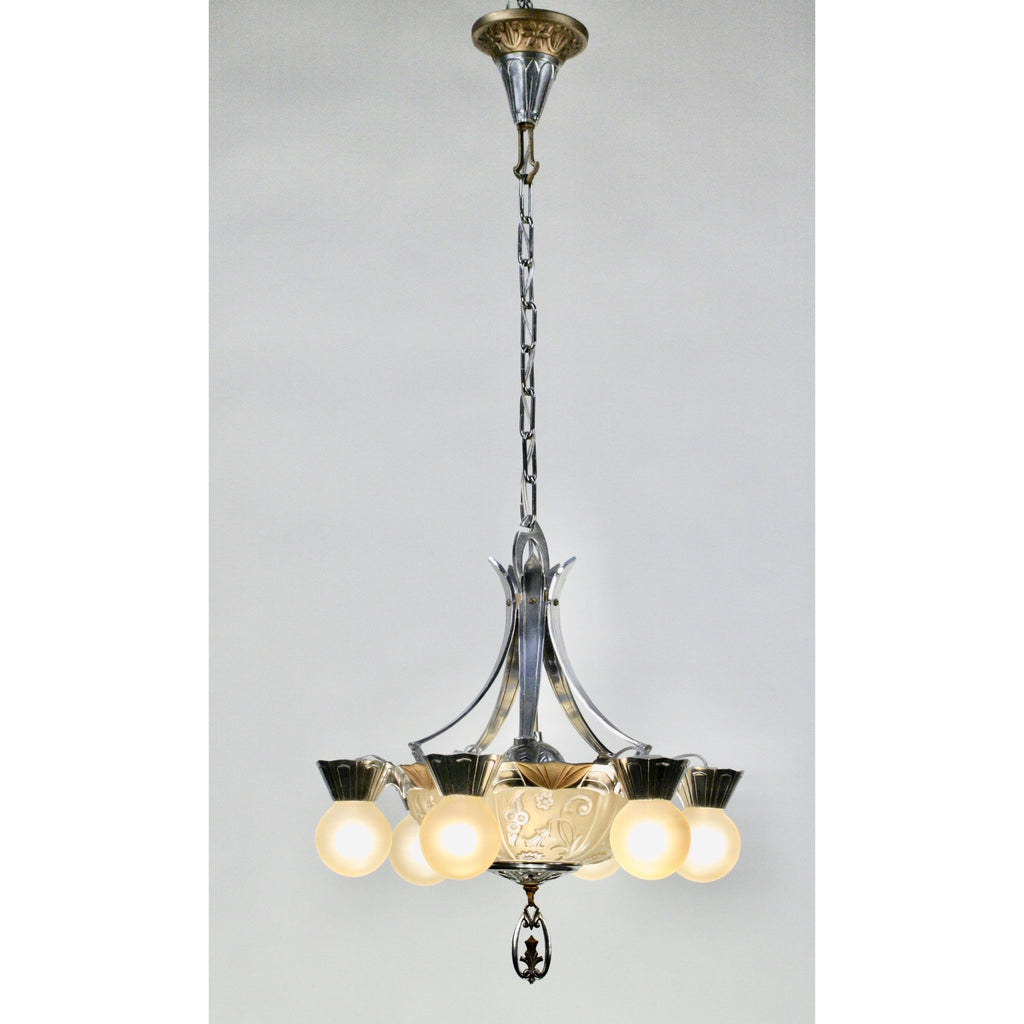 Art Deco Bare Bulb Chandelier