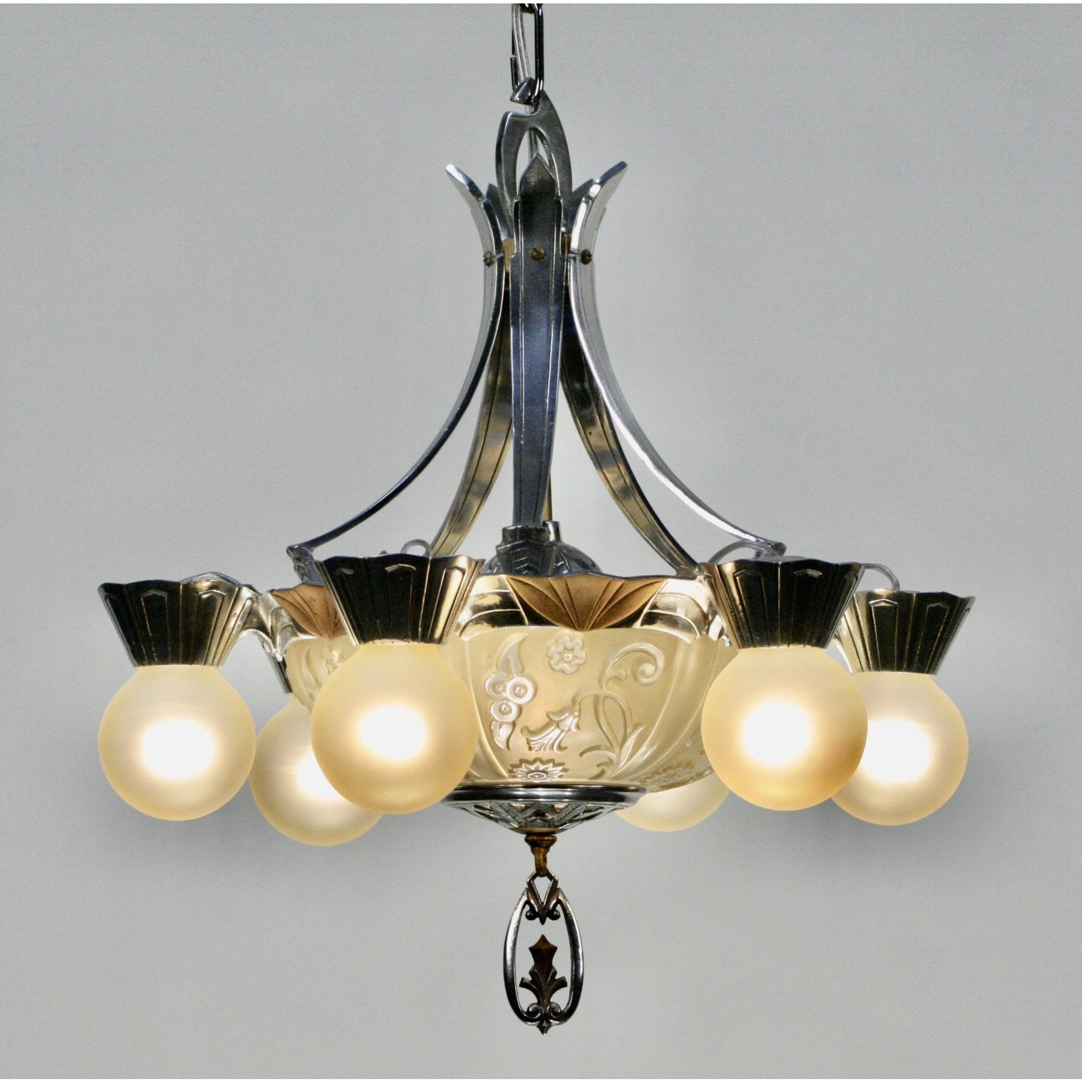 polished aluminum art deco chandelier with glass bowl bottom