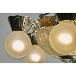 polished aluminum and bulb detail on art deco Lincoln chandelier