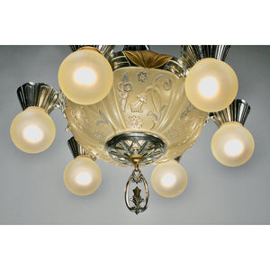 Art Deco Bare Bulb Chandelier with Glass Bowl, bottom view