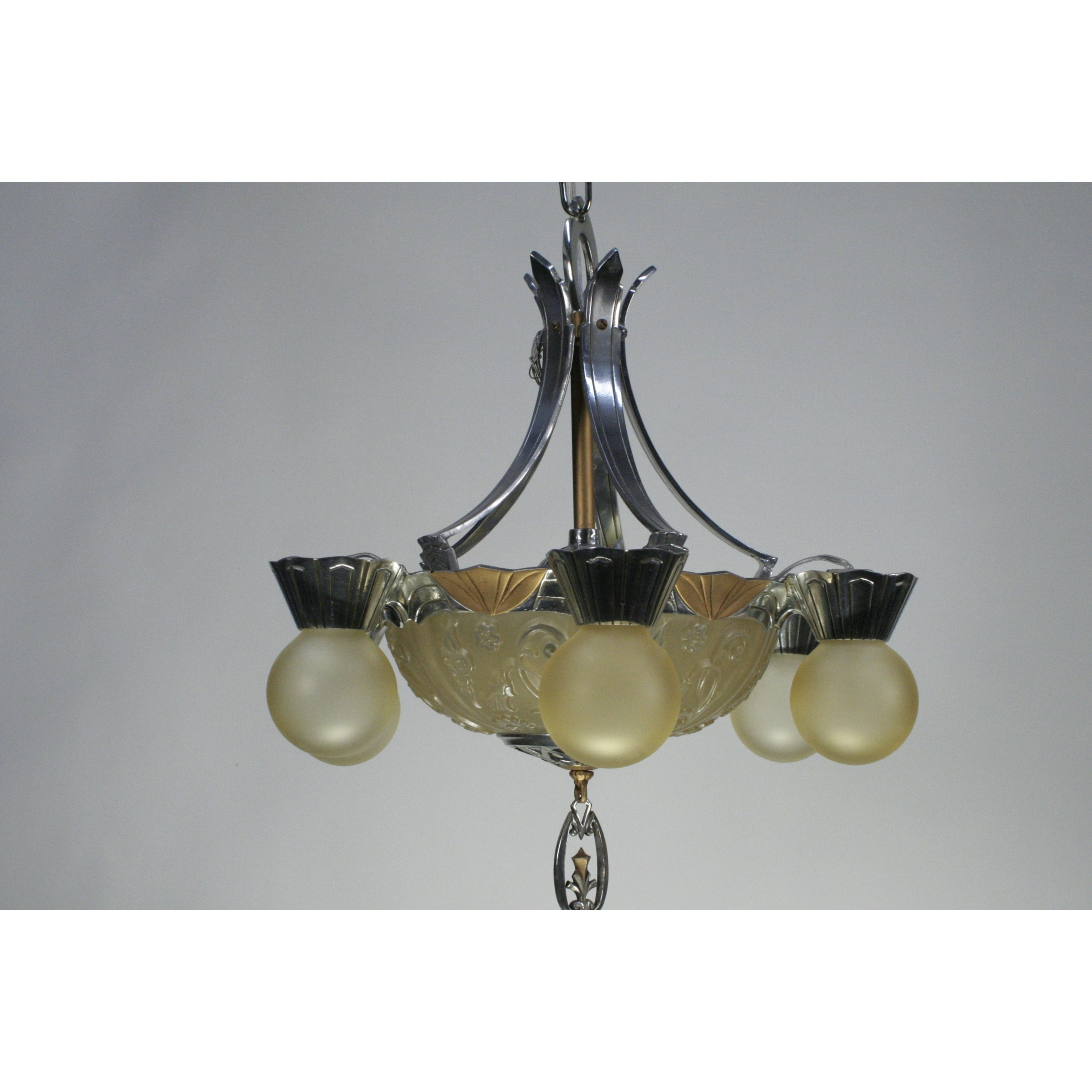 Art Deco Bare Bulb Chandelier with Glass Bowl