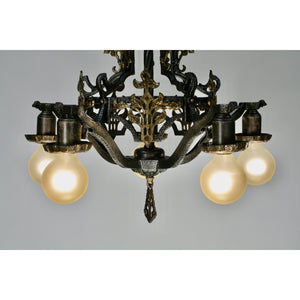 xHammered 1920s Chandelier with Brass Accent Overlays
