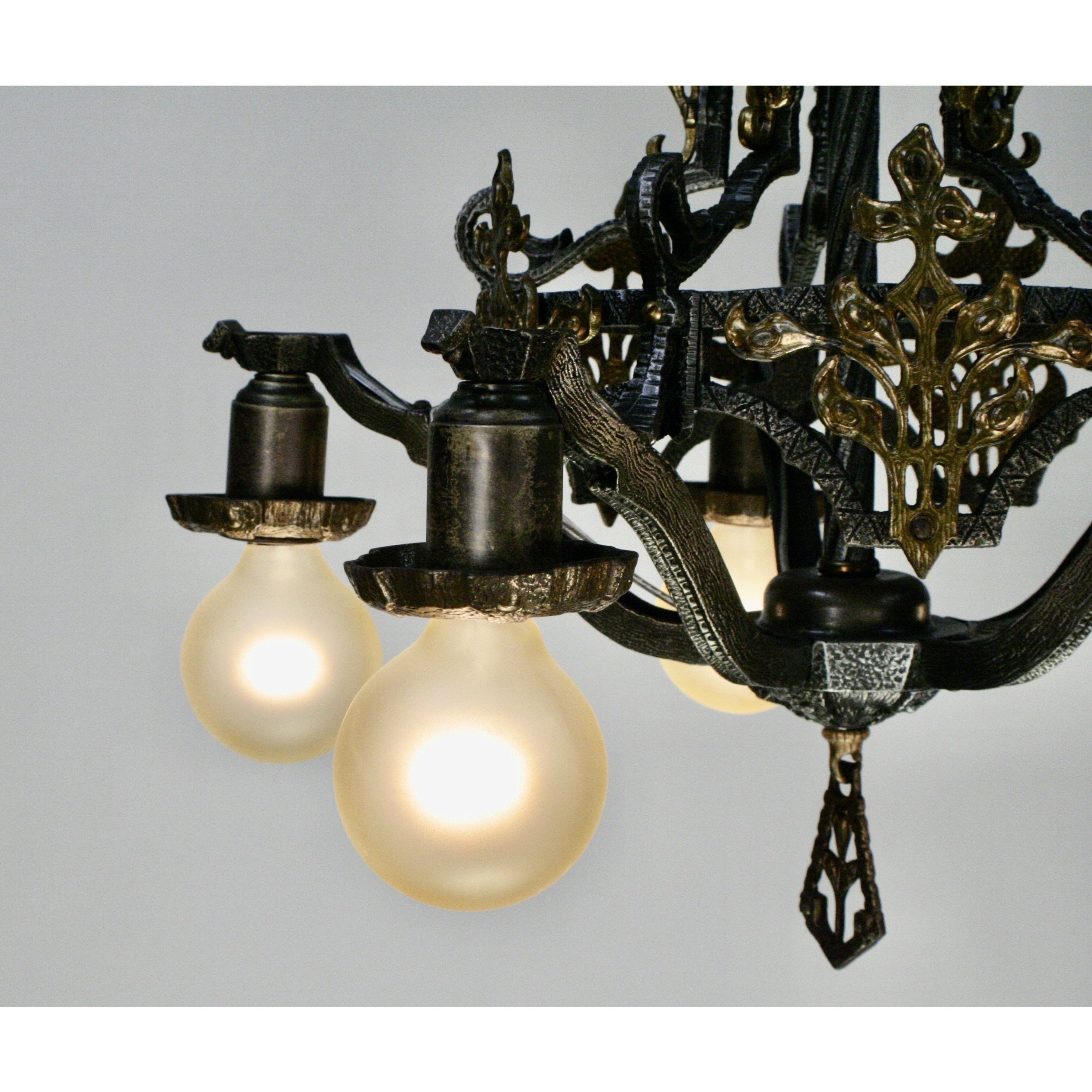 Hammered 1920s Chandelier with Brass Accent Overlays