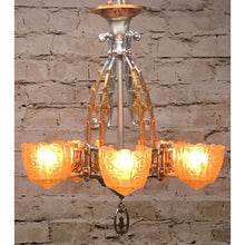 Load image into Gallery viewer, 1750 Restored Antique Art Deco Lincoln 5 Light Chandelier