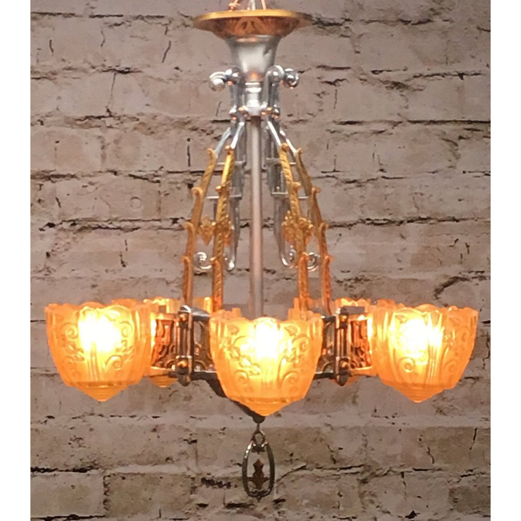 1750 Restored Antique Art Deco Lincoln 5 Light Chandelier