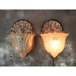 Pair Original Finish Art Deco Wall Sconces #1812