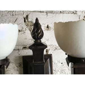 Pair Beardslee Arts and Crafts Sconces with Steuben Art Glass #1634 - Filament Vintage Lighting