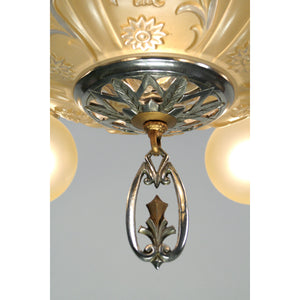 Art Deco Bare Bulb Chandelier with Glass Bowl finial detail