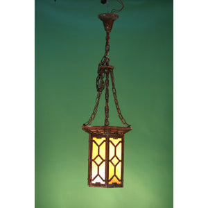 Vintage Arts and Crafts Slag Glass Lantern by Herwig, Fully Restored #1234 - Filament Vintage Lighting