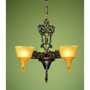 Art Deco Era Frankelite Three Light Chandelier - Filament Vintage Lighting