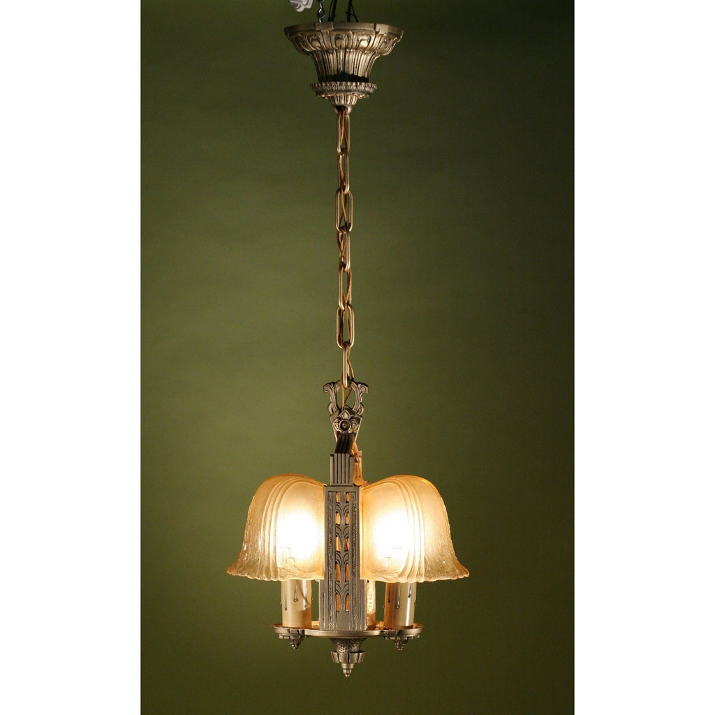 Art Deco Slip Shade, Foyer, Hallway Pendant by Riddle, #1196 - Filament Vintage Lighting