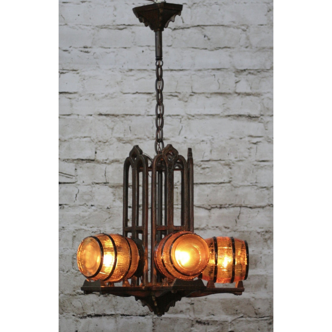 1930s Tavern Chandelier by Gill Glass #1749