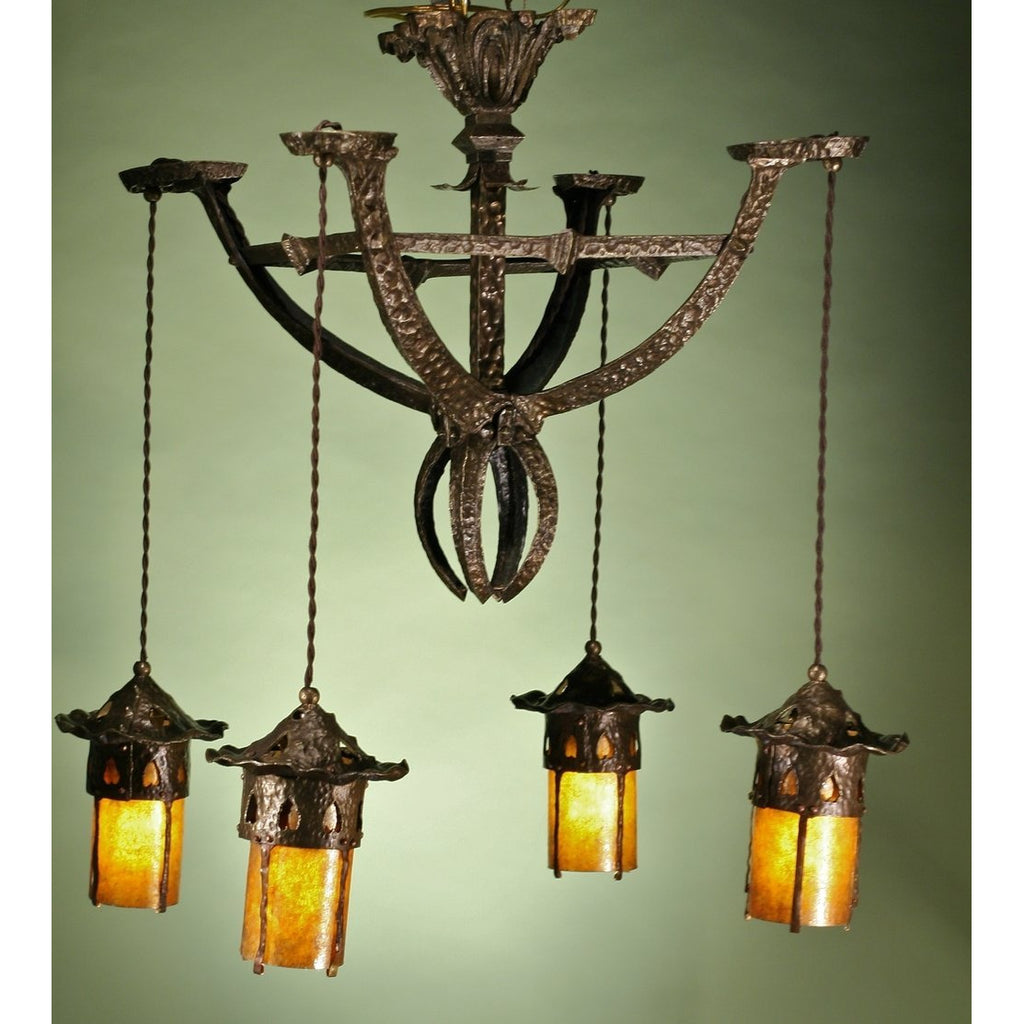 Hammered Antique Arts and Crafts Chandelier #11.120 - Filament Vintage Lighting