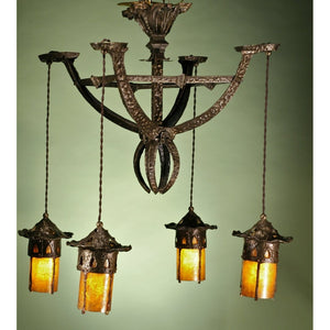 Hammered Antique Arts and Crafts Chandelier #11.120