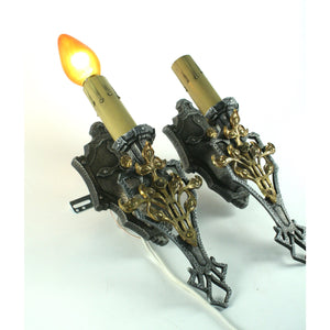 Stunning 1920s Candle Sconces with Brass Overlay