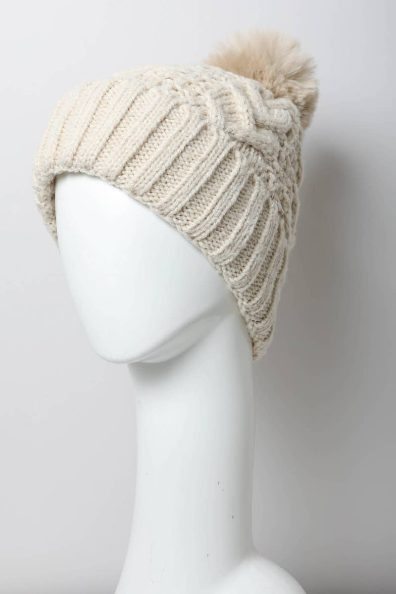 Thermal Lining Cable Knit Beanie