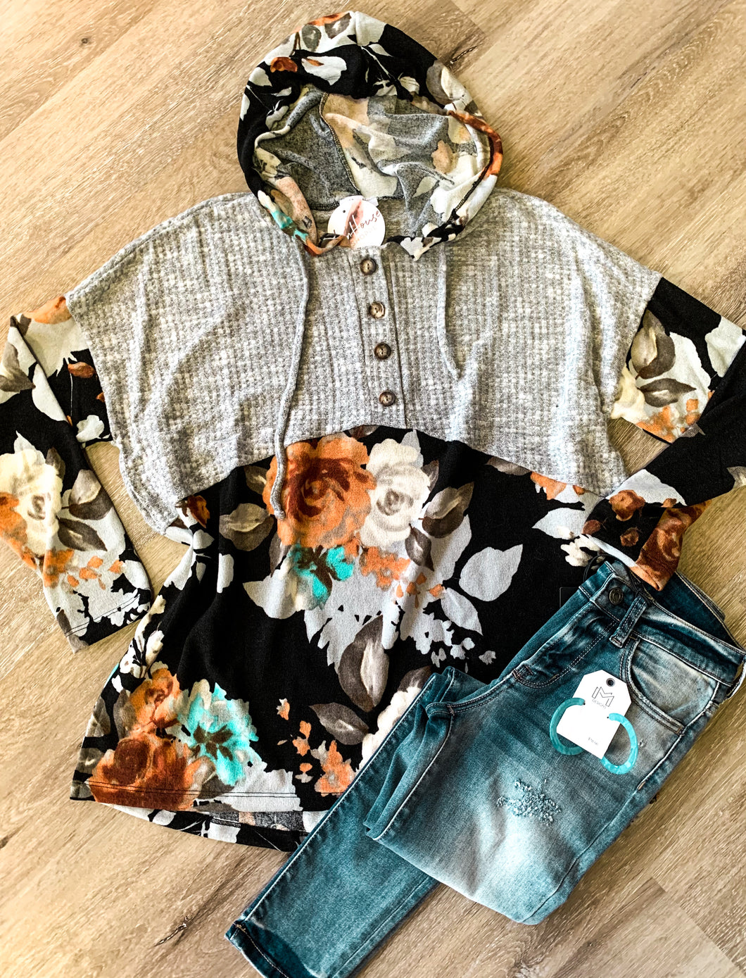 Knitted Floral Button Front Pullover