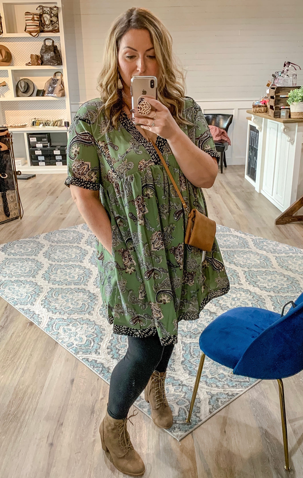 Curvy Olive Paisley Tunic Dress