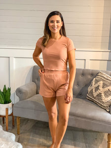 Ribbed Lounge Short Set
