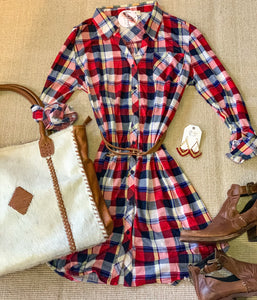 Curvy plaid Knit Dress w/Belt