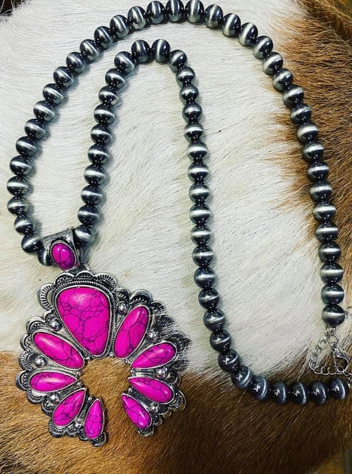 Pink squash blossom necklace