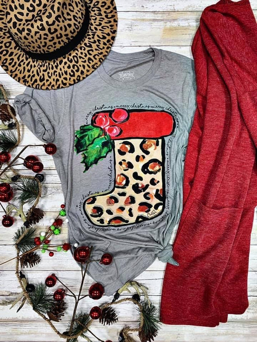 Merry Christmas Leopard Stocking Tee