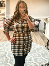 Load image into Gallery viewer, Curvy plaid Knit Dress w/Belt