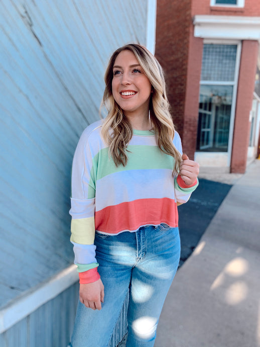 Thermal Candy Stripe Long Sleeve Crop Top