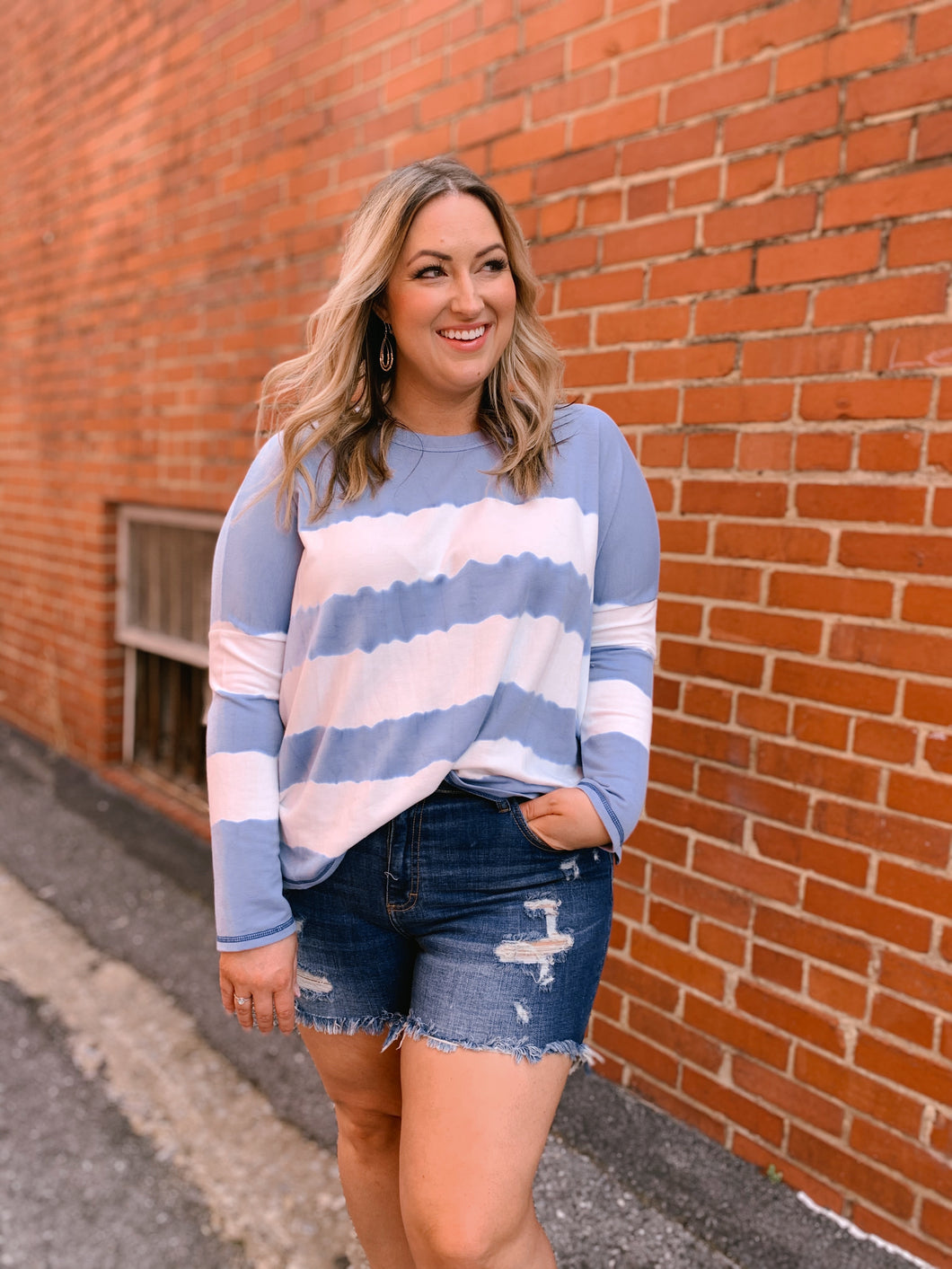 Striped Tie Dye Pullover