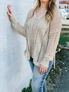 Boho Breeze Open Knit Sweater