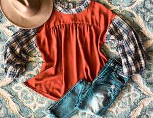 Plaid Sleeve Peplum