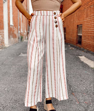 Load image into Gallery viewer, Striped Button-front Linen Pants