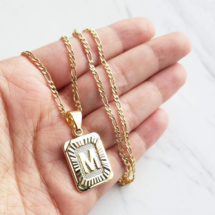Luxe rectangle Initial Necklace