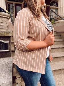 Beige and White Striped Blazer