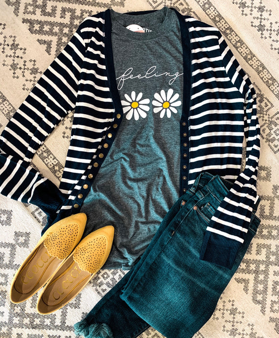 Everyday striped snap cardigan