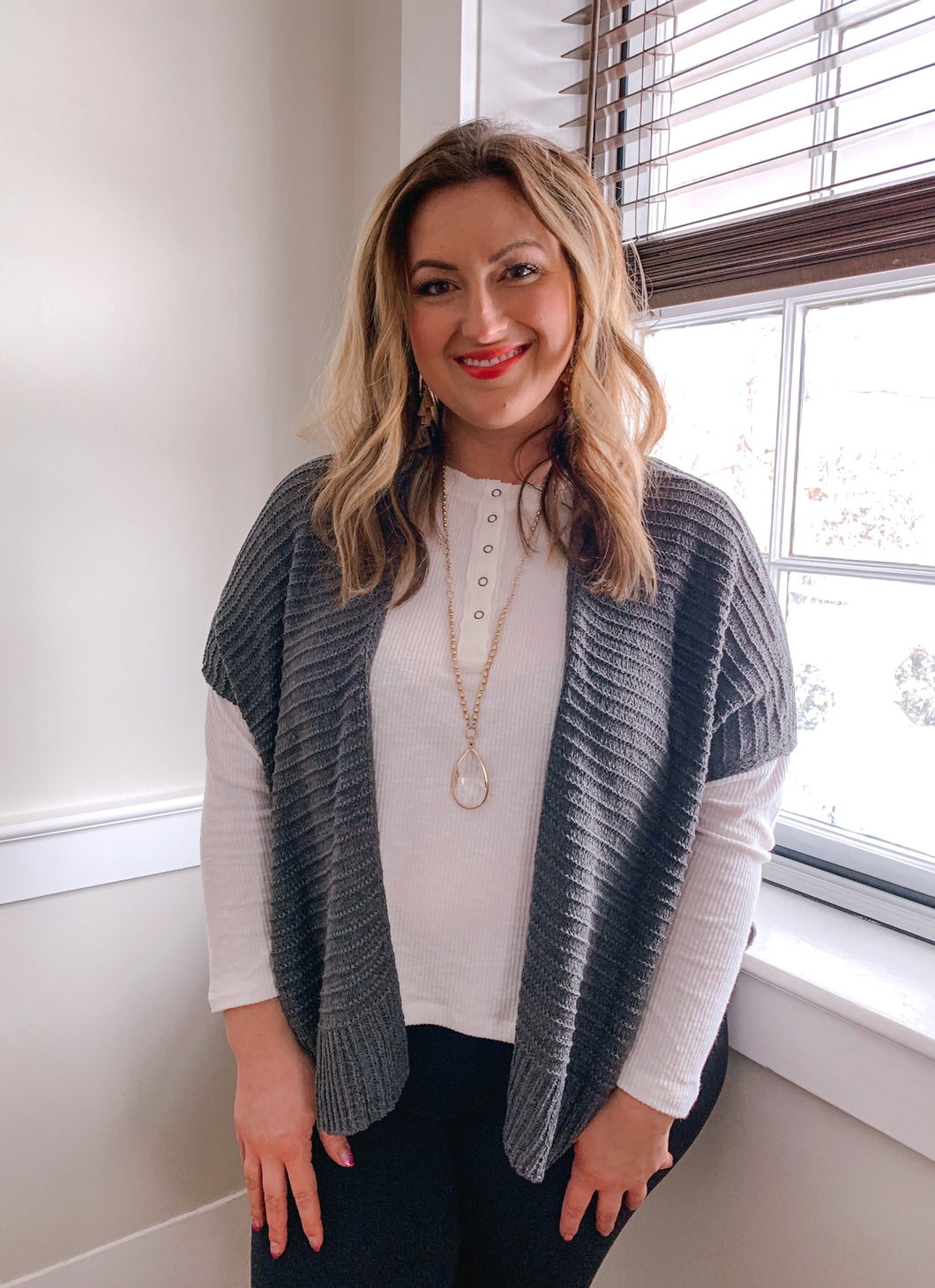 Gray Side Slit Cardigan