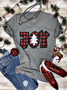 Plaid Joy Tee